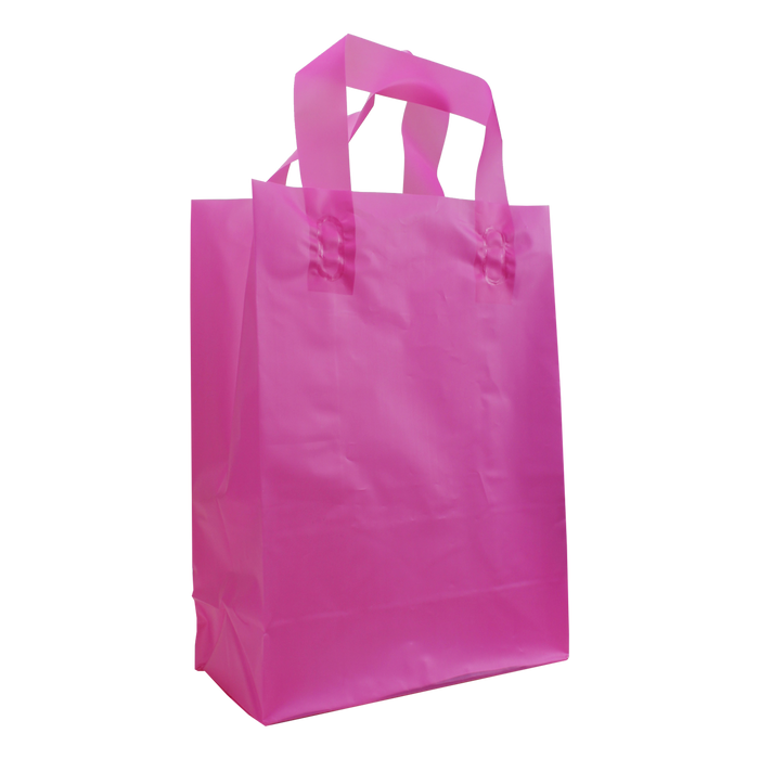 Pink Medium Frosted Plastic Shopper