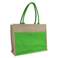 Lime Green Organic Jute Canvas Beach Tote Thumb
