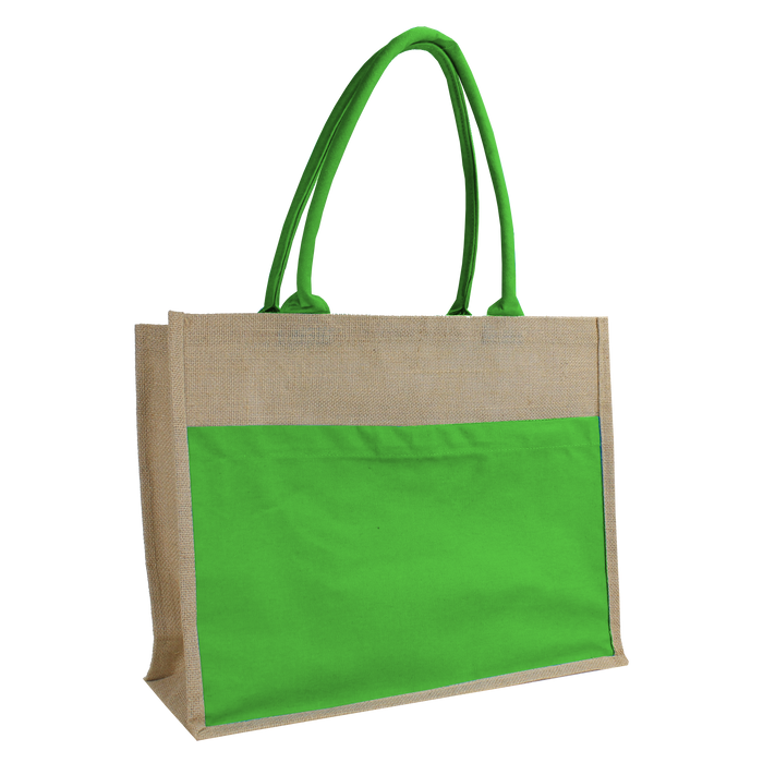 Lime Green Organic Jute Canvas Beach Tote