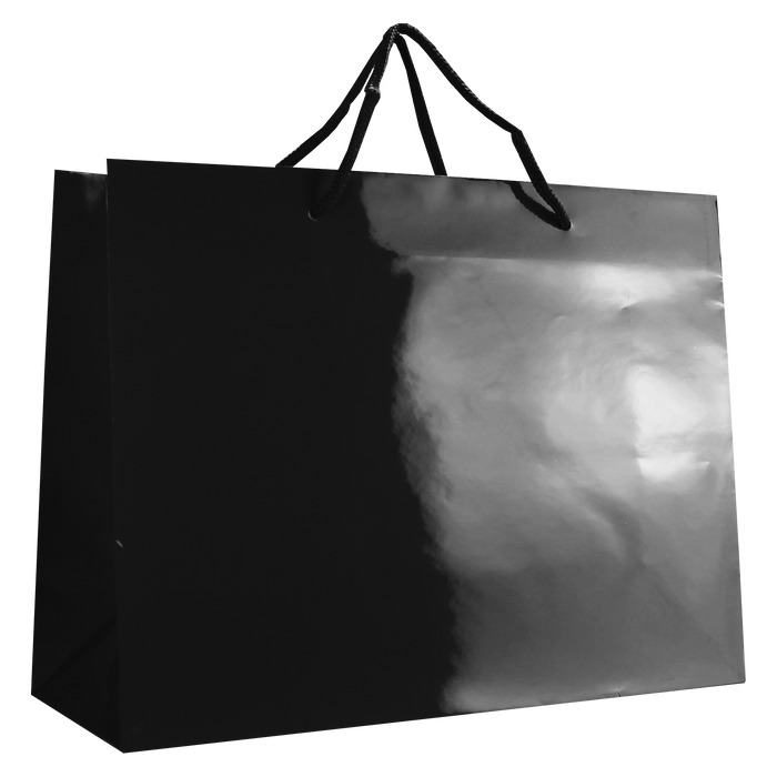 Black Large Glossy Shopper Bag