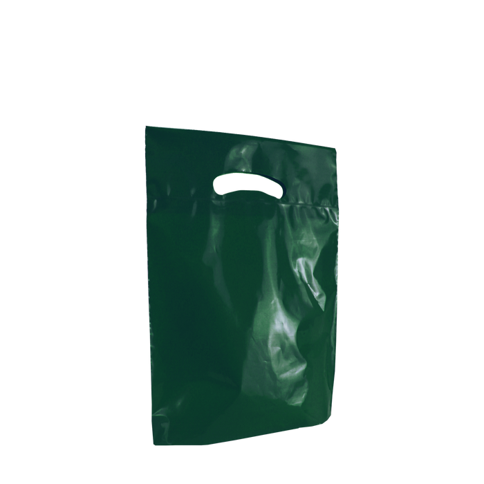 Hunter Green Small Eco-Friendly Die Cut Plastic Bag