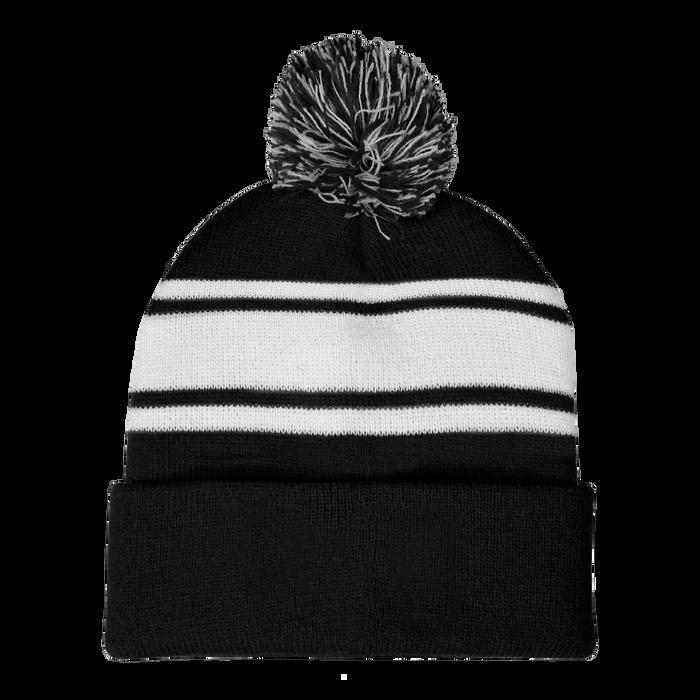 Black Striped Winter Beanie