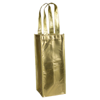 Metallic Gold Laminated Single Bottle Wine Tote Thumb