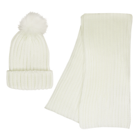 Cream Cozy Knit Hat & Scarf Set Thumb
