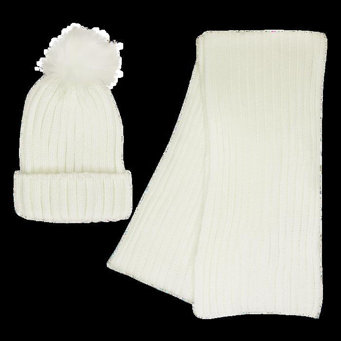 Cream Cozy Knit Hat & Scarf Set