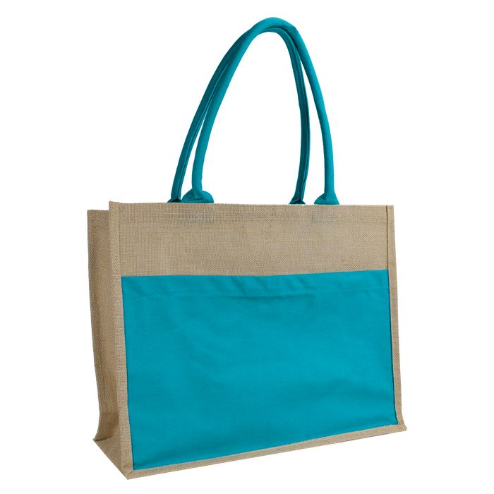 Turquoise Organic Jute Canvas Beach Tote