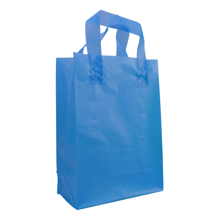 Blue Medium Frosted Plastic Shopper