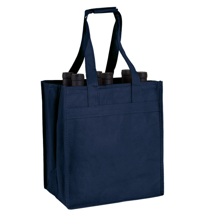 Navy Blue 6 Bottle Wine Tote