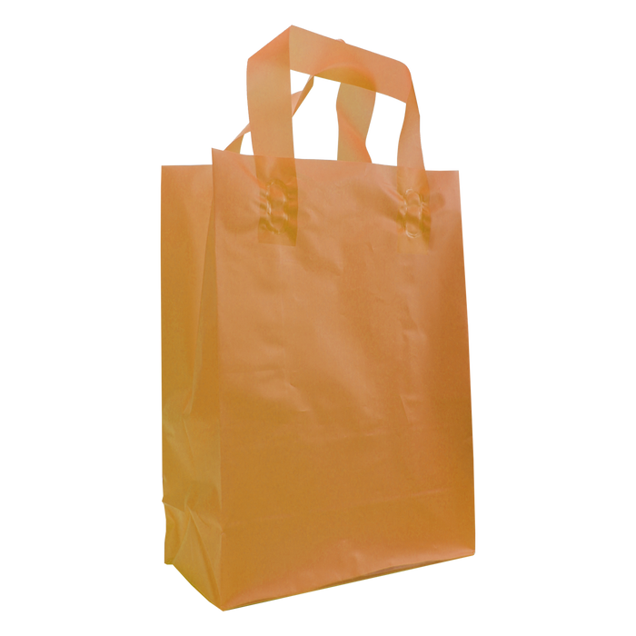 Tangerine Medium Frosted Plastic Shopper