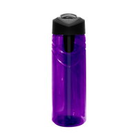 Purple Sport Water Bottle with Flip Up Straw Thumb