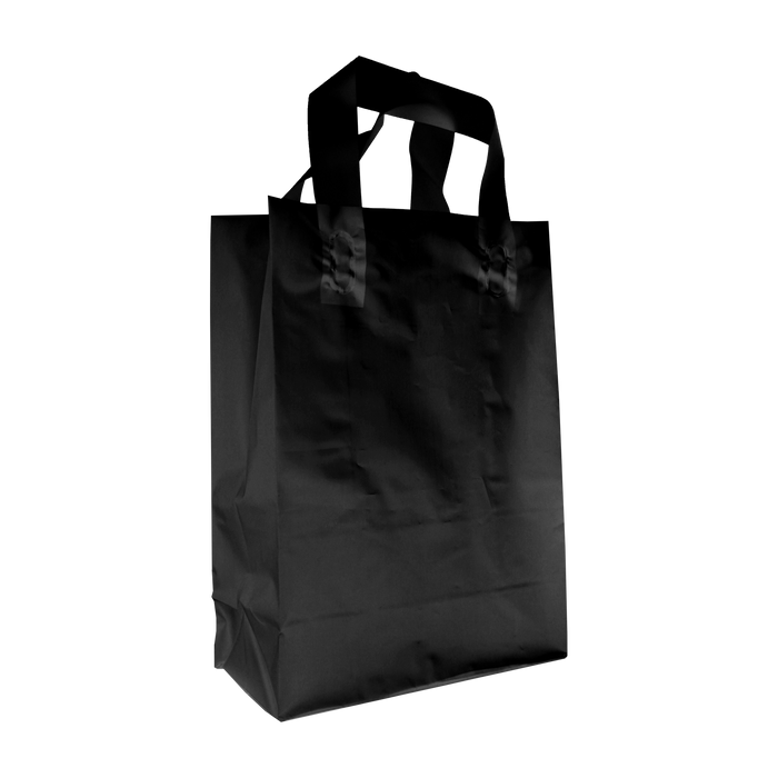 Black Small Frosted Plastic Shopper
