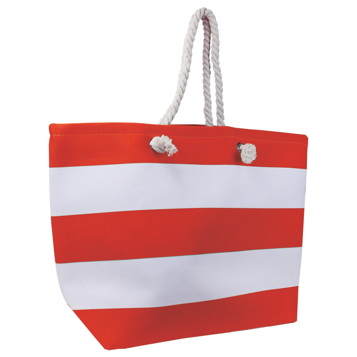 Red Marina Striped Beach Tote