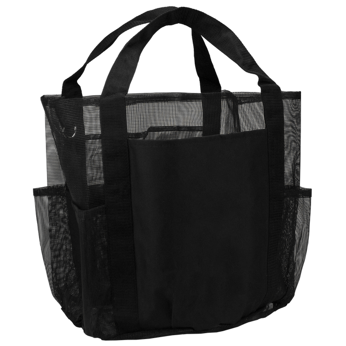 Black Schooner Mesh Pocketed Beach Bag