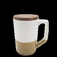 White Ceramic Mug with Wood Lid Thumb
