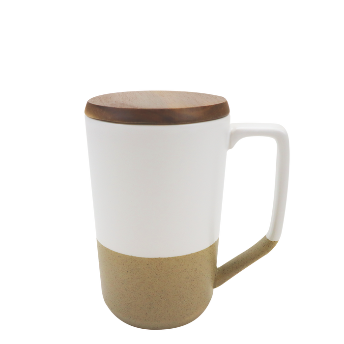 White Ceramic Mug with Wood Lid