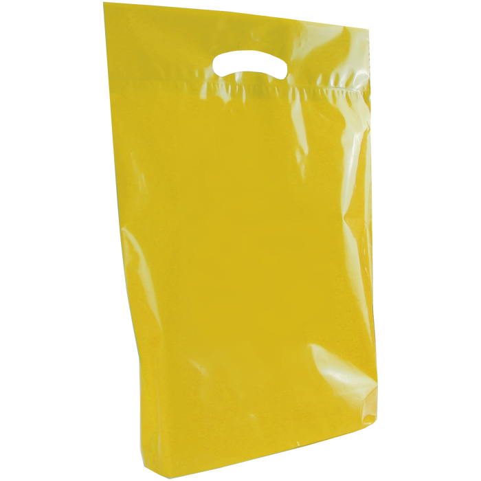Yellow Medium Eco-Friendly Die Cut Plastic Bag