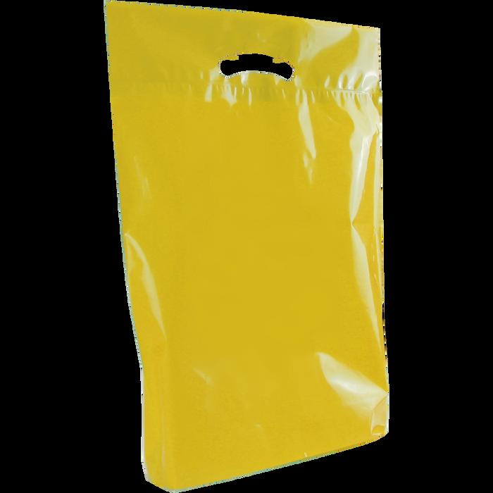Yellow Medium Eco-Friendly Die Cut Plastic Bag
