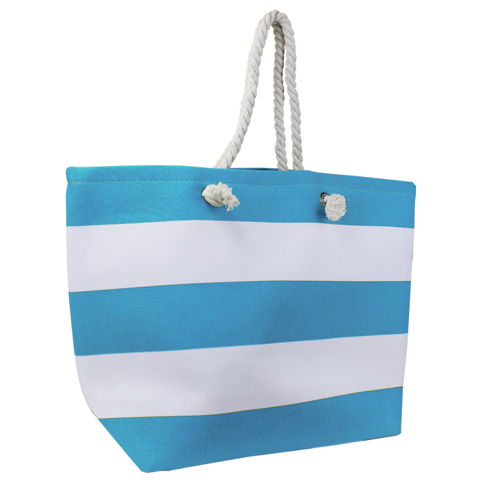 Turquoise Marina Striped Beach Tote