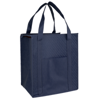 Navy Blue Insulated Tote with Pocket Thumb