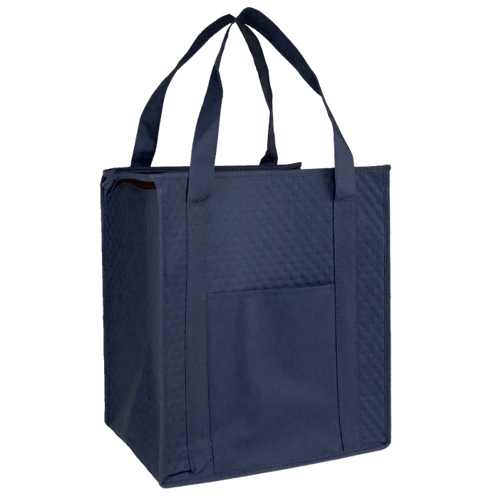 Navy Blue Insulated Cooler Tote with Pocket