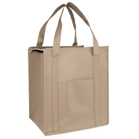 Tan Insulated Cooler Tote with Pocket Thumb