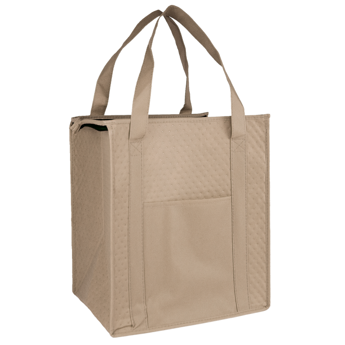 Tan Insulated Cooler Tote with Pocket