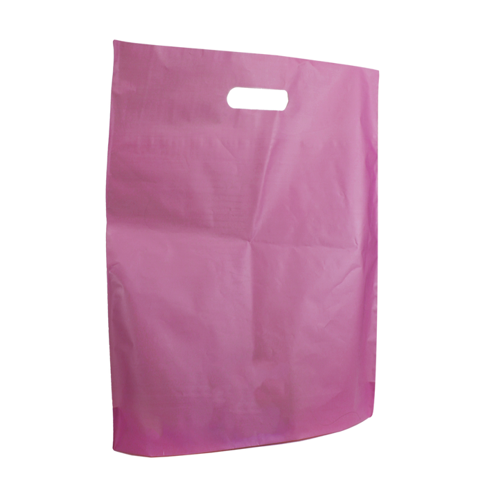 Pink Large Frosted Die Cut Bag