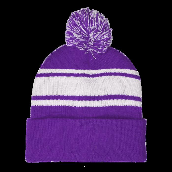 Purple Striped Winter Beanie