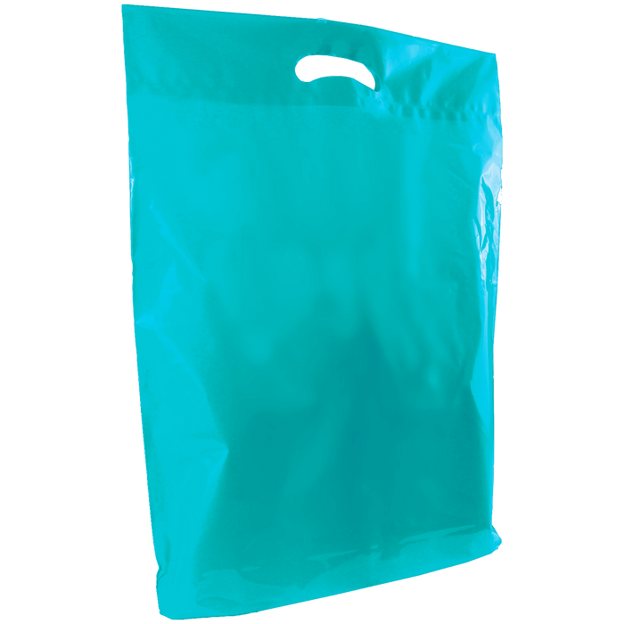 Teal Large Die Cut Plastic Bag