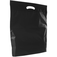 Black Large Eco-Friendly Die Cut Plastic Bag Thumb