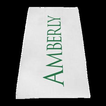 silkscreen imprint,  white beach towels,