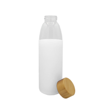 White Glass Water Bottle with Bamboo Lid Thumb
