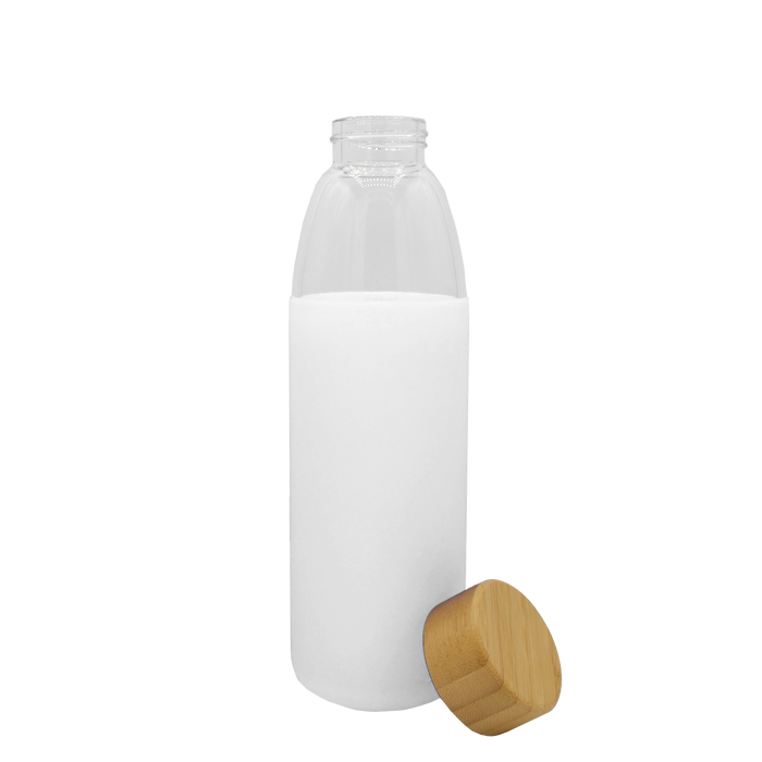 White Glass Water Bottle with Bamboo Lid