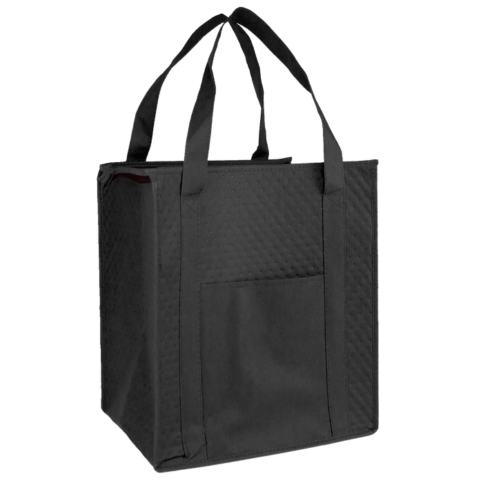 Black Insulated Cooler Tote with Pocket