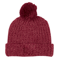 Burgundy and Natural Knit Knit Pom Beanie Thumb