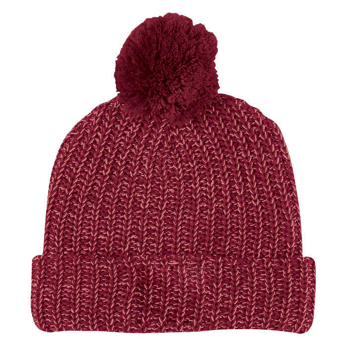 Burgundy and Natural Knit Knit Pom Beanie