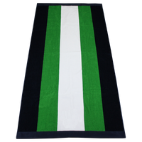 Green / Navy Hampton Striped Beach Towel Thumb