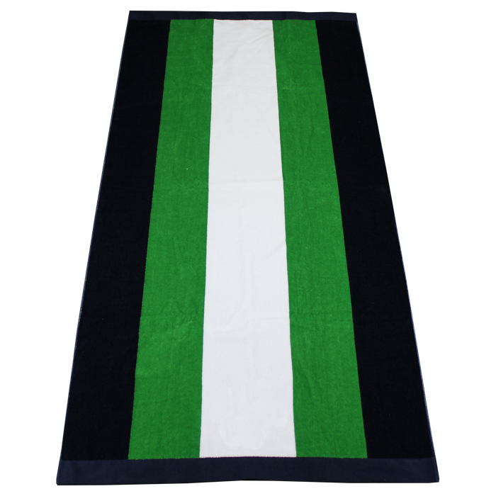 Green / Navy Hampton Striped Beach Towel