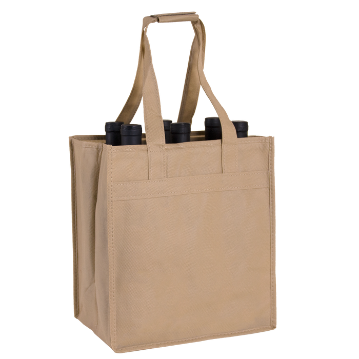 Light Khaki 6 Bottle Wine Tote