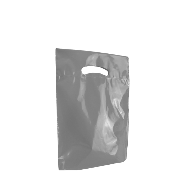 Gray Small Eco-Friendly Die Cut Plastic Bag
