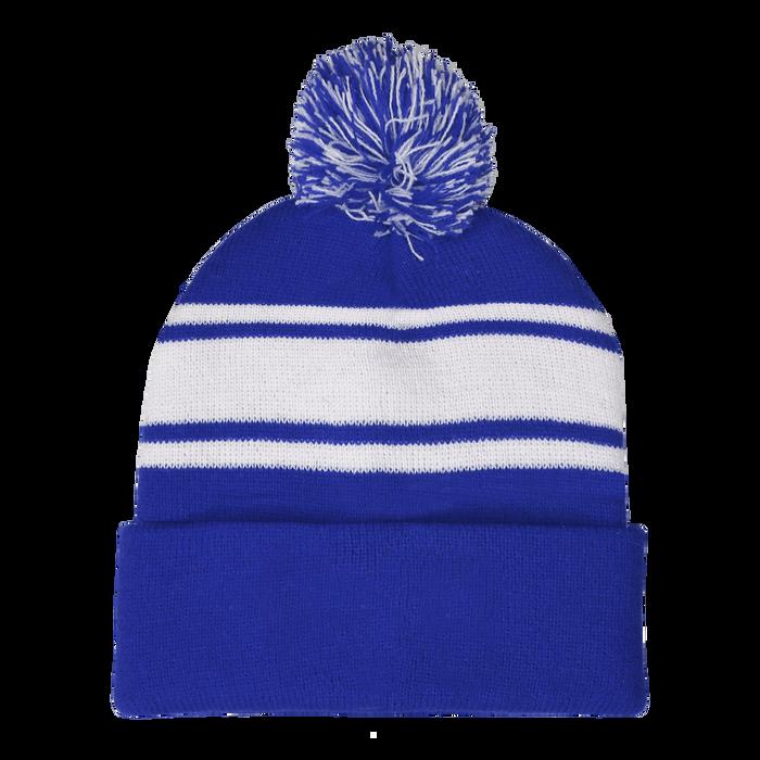 Royal Blue Striped Winter Beanie