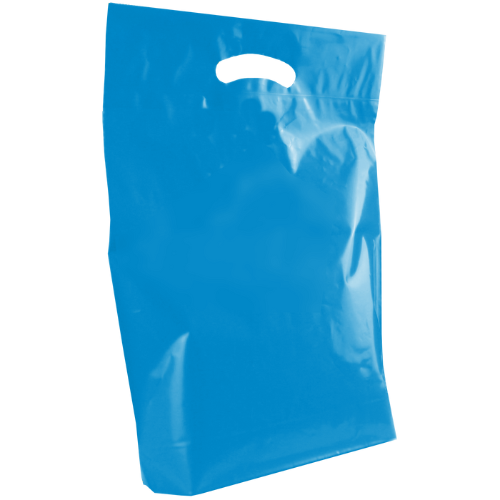 Blue Medium Die Cut Plastic Bag