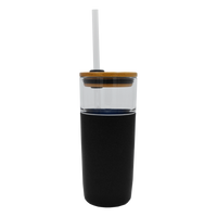 Black Glass Tumbler with Straw Thumb