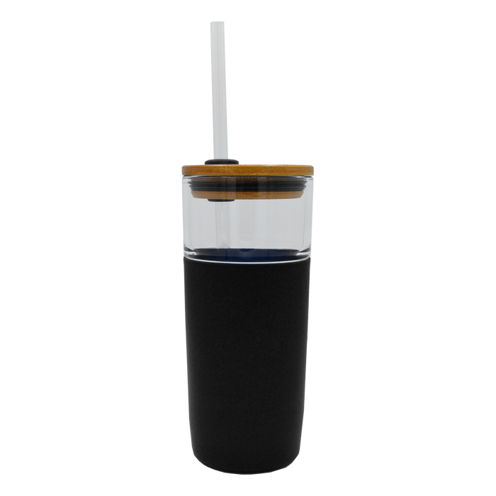 Black Glass Tumbler with Straw
