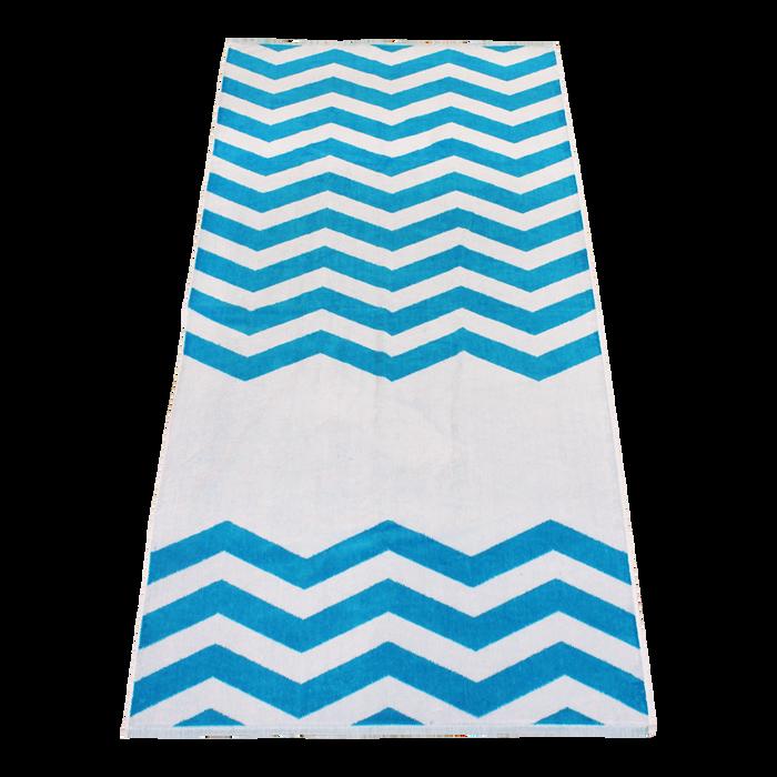 Turquoise Horizon Chevron Striped Beach Towel