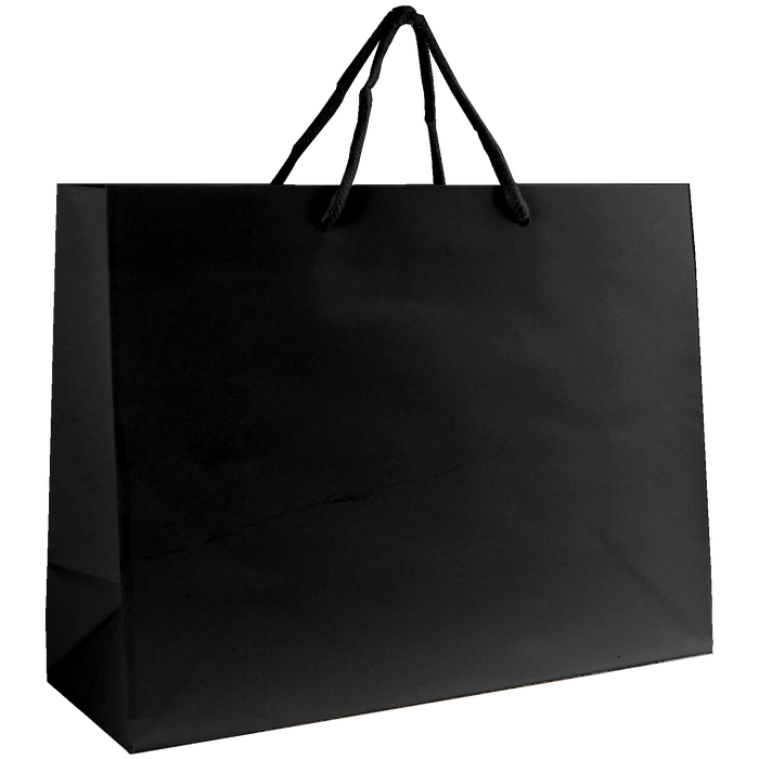 Black Medium Glossy Shopper Bag