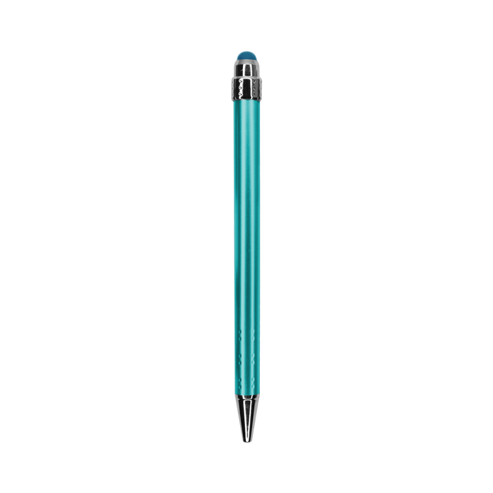 Teal Green with Blue Ink Chrome Stylus Pen