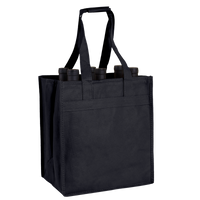 Black 6 Bottle Wine Tote Thumb