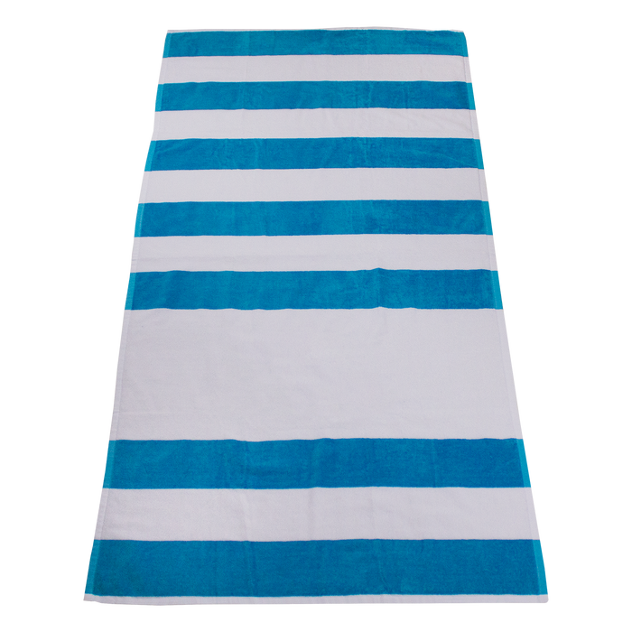 Turquoise Horizon Striped Beach Towel