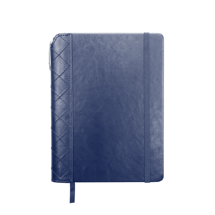 Navy Blue Quilted Faux Leather Journal with Pen
